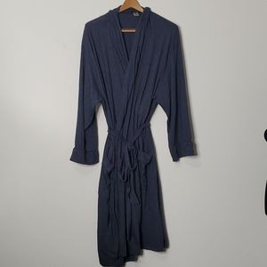 Joe Boxer L/XL heathered navy jersey knit tie robe